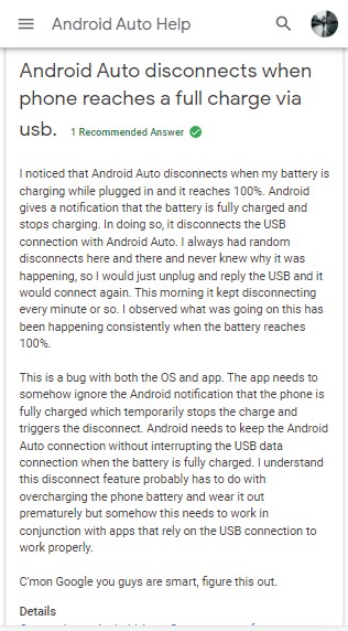 android auto disconnects full charge via usb