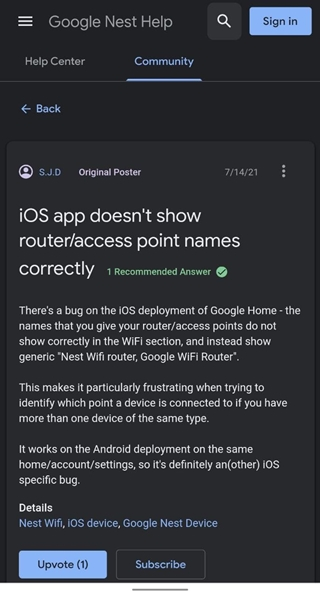 Google Home app on iOS showing incorrect names under Wifi section