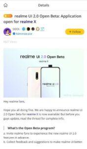 Reame UI 2.0 open beta for Realme X