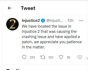 injustice2 crashing issue isolated and fix applied
